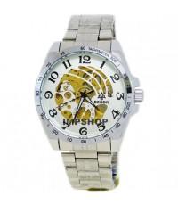 นาฬิกาข้อมือชาย debor ระบบ AUTO หน้าปัดขาวเงินฉลุลายเส้น เลขอารบิคสีดำ
