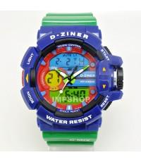 นาฬิกาข้อมือ D-ZINER 2 ระบบหน้าปัดดิจิตอล 3 สี สายสีเขียว