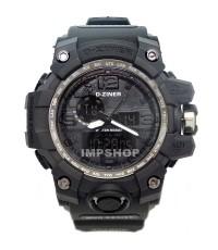 นาฬิกาข้อมือ D-ZINER 2 ระบบ เรือนดำ สายยางแข็ง