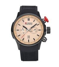 นาฬิกาข้อมือผู้ชาย CURREN แท้ ปุ่มสีแดงเรือนดำ สายยาง