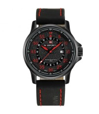 นาฬิกาข้อมือผู้ชาย NAVIFORCE แท้ หน้าปัดผิวทราย ตัวเลข,เข็มสีแดง สายหนัง