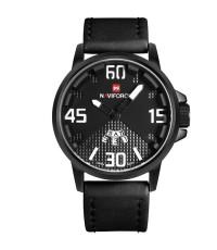 นาฬิกาข้อมือชาย NAVIFORCE เครื่องหมายชั่วโมง,เข็มสีขาว พื้นหน้าปัด 2 ชั้น สายหนัง