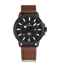 นาฬิกาข้อมือผู้ชาย NAVIFORCE แท้ หน้าปัดสีดำ สายหนังสีน้ำตาล