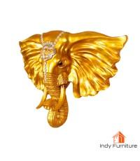 หัวช้างทอง ร่ำรวยเงินทอง ขนาดใหญ่ 55x45x15 ซม. แขวนผนัง เสริมความเป็นศิริมงคล
