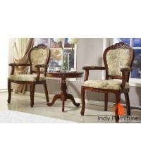 ชุดโต๊ะ+เก้าอี้หลุยส์ไม้แกะสลัก มีท้าวแขน หุ้มผ้าลายดอก สีโอ๊ค