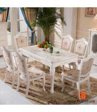 ชุดโต๊ะรับประทานอาหารหินอ่อน +เก้าอี้หลุยส์ไม้แกะลาย 6 ตัว หุ้มผ้าลายดอก สีขาว