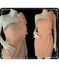 ชุดราตรีสั้น Fashion Rose D1262