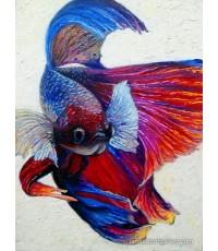 ขายภาพวาดสีน้ำมัน ภาพวาดตกแต่งห้อง ภาพปลากัด03