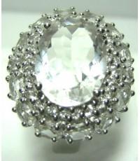 แหวนพลอยร็อคคริสตัส อัญมณีขาวใส Rock Quartz C00182