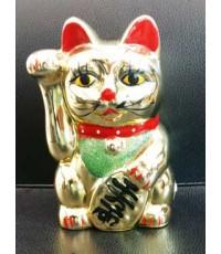 แมวกวักเซรามิค6นิ้ว (ออมสิน-แบบแขนอยู่นิ่ง)