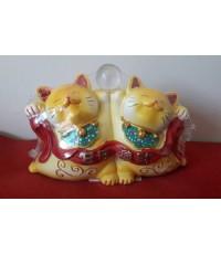 แมวกวักคู่เรซินสี 3นิ้ว(มีหลายสี)