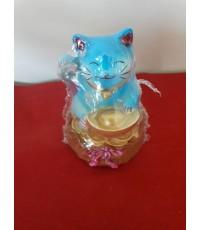 แมวกวักนั่งถุงเงิน เรซินสี(มีหลายสี)