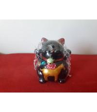 แมวกวักเรซินดำ 3นิ้ว(ชุด 5ท่า)