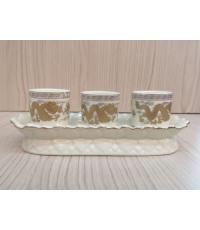 ชุดน้ำชา 3 ถ้วย สีงาช้างลายมังกร (ฐานบัว)