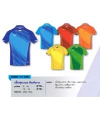 เสื้อฟุตบอล พิมพ์ลาย code 11-432 size 4L สีเขียวอ่อนเหลือง อก 47 นิ้ว ยาว 30.5 นิ้ว