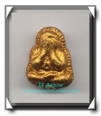 หลวงพ่อสาคร วัดหนองกรับ พระปิดตาผสมผงเกศา ( จัมโบ้ ) ทาทองบรอนซ์ ด้านหลังฝังตะกรุดทองคำ องค์ที่ 2
