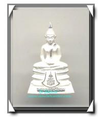 รูปหล่อพระพุทธโสธร ขนาดสูง 3.0 ซม. ( พิมพ์ใหญ่ ) เนื้อเงินทรายนวลขัดเงา รุ่นมหามงคล