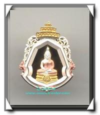 หรียญหล่อพระพุทธโสธรลายไทย พระนามย่อญ.ส.ส. (พิมพ์เล็ก) สูง 2 ซม.เนื้อเงินชุบสามกษัตริย์