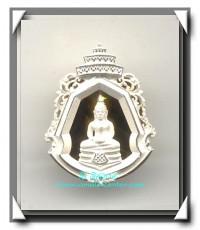 เหรียญหล่อพระพุทธโสธรลายไทย พระนามย่อญ.ส.ส. (พิมพ์เล็ก) สูง 2 ซม.เนื้อเงินทรายนวล