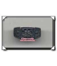 แหวนปิดตาข้างยันต์กระบองไขว้ เนื้อเงินแท้ วัดอ่างศิลา พ.ศ.2538