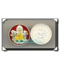 เหรียญ เจ้าแม่กวนอิม เนื้อเงิน ลงยา ราชาวดี ฉากแดง วัดหัวลำโพง พ.ศ.2537