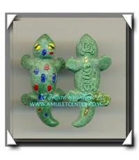 หลวงพ่อเงิน วัดถ้ำน้ำ ตุ๊กแกขนาดพกติดตัว ฝังตะกรุดเรียกลาภ เรียกคน สีเขียว พ.ศ.2552