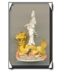 เจ้าแม่กวนอิม รูปหล่อปางประทับมังกร เนื้อโลหะชุบ 3 กษัตริย์ ฉลองครองราชย์ 50 ปี จ.ระนอง พ.ศ.2539 (2)
