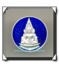พระพุทธชินราช ญสส. วัดบวรนิเวศวิหาร เนื้อเงินลงยาสีน้ำเงิน พ.ศ.2536