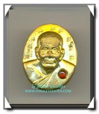 หลวงปู่ทวด เหรียญครึ่งองค์เนื้อทองฝาบาตร ฝังพลอย โค๊ตนะ 9 นะ สร้าง 999 องค์ พ.ศ.2553