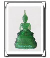 พระบูชา 25 พุทธศตวรรษ พิมพ์พระแก้วมรกตเนื้อแก้วสีเขียวใส หน้าตัก 5.5 นิ้ว สวยแชมป์