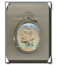 หลวงพ่อเปิ่น วัดบางพระ เหรียญขี่เสือ เนื้อเงินแท้ รุ่นมหาเศรษฐี พ.ศ.2534 สวยแชมป์