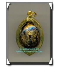 หลวงพ่อทวด เบี้ยแก้กระดุมทองฝาบาตร รุ่น 3 ฝังแร่มหามงคล เสาร์ 5 พ.ศ.2551 เลี่ยมไมครอนเดิมจากวัด(3)