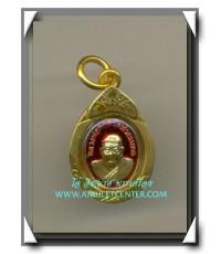 หลวงปู่ทวด เหรียญเม็ดแตงครบรอบ 5 ปี กะไหล่ทองลงยาแดง เลี่ยมไมครอนจากวัด พ.ศ.2552
