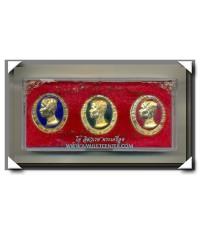 เหรียญรัชกาลที่ 5 ทรงยินดี รุ่น มหามงคล ชุดลงยา 3 เหรียญ วัดหัวลำโพง พ.ศ.2535 กล่องเดิม