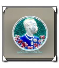เหรียญรัชกาลที่ 5 ปิยะมหาราชา เนื้อเงินลงยาราชาวดี รุ่น มหามงคล วัดแหลมแค พ.ศ.2536 (2)