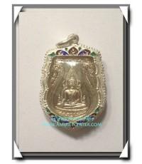 พระพุทธชินราช ภ.ป.ร. รุ่น ปฎิสังขรณ์เนื้อเงิน เลี่ยมเงินลงยา วัดพระศรีรัตนมหาธาตุ พิษณุโลก พ.ศ.2530