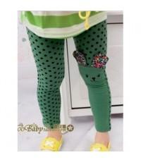 กางเกงเลคกิ้งเด็กกระต่ายน้อยสีเขียวจุดดำ