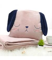 หมอนผ้าห่มซุกมือน้องหมาสีชมพู