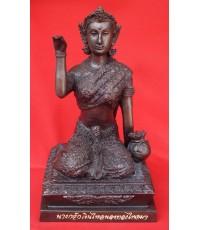 นางกวักเงินไหลนองทองไหลมา ขนาดบูชา สวยที่สุด หน้าตัก  5 นิ้ว  หลวงปู่เจือ วัดกลางบางแก้ว ปี 2550