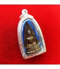 รูปหล่อพระพุทธชินราช พิมพ์แต่ง รุ่นธรรมจักร เนื้อทองทิพย์ วัดพระศรีมหาธาตุ ปี 2543 ตลับเงิน