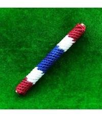 ตะกรุดโสฬสมงคล จารมือ เต็มสูตร ถักเชือกลายธงชาติ รุ่นแรก พระอาจารย์แว่น วัดสะพานสูง ยาว 3.5 นิ้ว