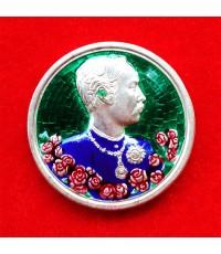 เหรียญรัชกาลที่ 5 หลังนารายณ์ทรงครุฑประทับราหู เนื้อเงินลงยา วัดแหลมแค ปลุกเสกปี 2536 สวย สุดหายาก 8