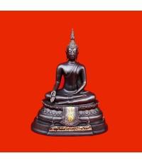 พระบูชา ภปร. ปี 2508 วัดบวรนิเวศ หน้าตัก 5 นิ้ว สูง 10 นิ้ว เนื้อทองเหลืองรมดำ รุ่นเสริม
