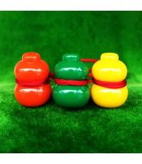 น้ำเต้าหลวงพ่อสด วัดปากน้ำ ชุด 3 สี 3 ลูก แบบที่ 2 รุ่น 100 ปี ภาพสี บูชาไว้เพื่อดูดทรัพย์ดีมาก