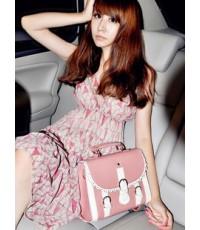 **พร้อมส่ง**Mayi Shop กระเป๋าถือสีชมพูครีม