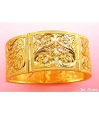 กำไลมือทองฉลุลายไทย หน้ากว้าง