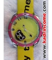 นาฬิกาแฟชั่น เชียงใหม่ A063 ลายหมีใส่แว่น สีเหลือง