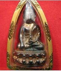พระกริ่งลอยองค์เนื้อนวโลหะก้นเงิน(ทองดำ99)เลี่ยมทอง หลวงพ่อทองดำ ฐิตวัณโณ วัดท่าทอง