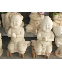 ตุ๊กตาเด็กผู้หญิงเด็กผู้ชายสวัสดีหินทราย (ไม่มีสี)