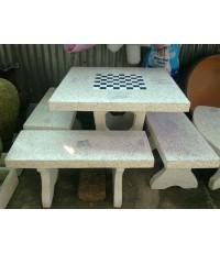 โต๊ะหินขัดทรงสี่เหลี่ยมไม่มีพนักพิง (ใหญ่) 90 x 90 cm.